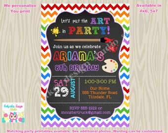 Art party invitation art party invite arts and crafts birthday invitation rainbow primary Printalbe DIY