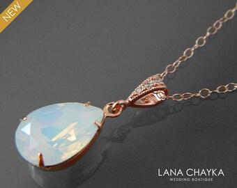 White Opal Rose Gold Necklace Swarovski White Opal Rhinestone Necklace Opal Teardrop Wedding Necklace Bridal Jewelry Prom Pink Opal Jewelry