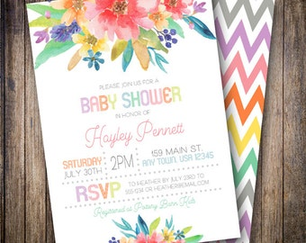 Watercolor Baby Shower Invitation, Baby Girl, Floral Baby Shower Invite, Printable Baby Shower Invite - Watercolor Flowers in Pink, Purple
