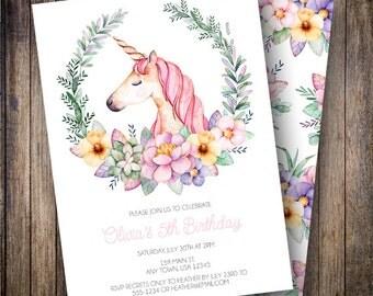 Unicorn Birthday Invitation, Floral Birthday Invite, Unicorn Invitation, Unicorn Party, Watercolor Flowers, Pink, Green, Teal, Purple