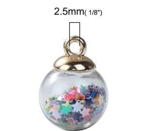 Glass Ball Charm Glass Ball Pendant Star Charm Glass Globe Pendant Crystal Ball Charm Rainbow Ball Charm Glass Charm Glass Pendant