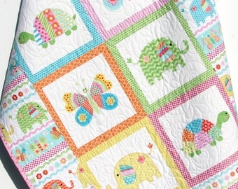 Baby Girl Quilt, Baby Blanket, Nursery Crib Bedding, Bundle of Love, Giraffe Turtles, Pink Yellow Blue Green, Modern Adorable Twin Bedding