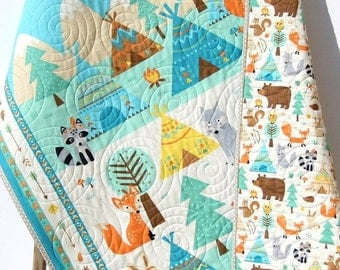 Quilt, FLANNEL Baby Boy or Girl Bedding, Teepee Time, Woodland Forest, Bears Fox Deer, Outdoor Nature, Nursery Crib Blanket Aztec Arrows