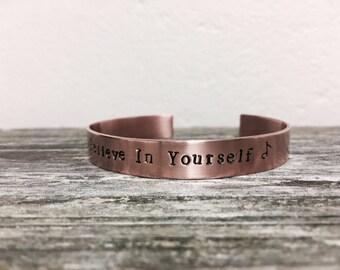 "Custom hand stamped bracelet cuff -  3/8""x 6"" 18 gauge copper, customized bracelet, personalized bracelet, custom jewelry"