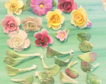Nice Large Lot of Porcelain Ceramic Flowers Florals and Leaves for Crafts Mosaics Pinks Yellows Greens