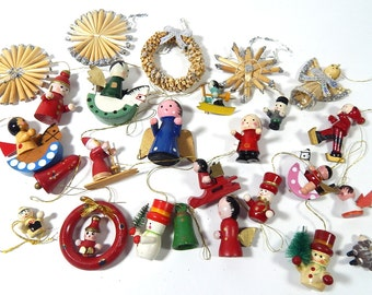 20 Vintage French Wood Christmas Ornaments
