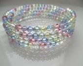 CUSTOM ORDER for BETH, Pastel Rainbow Memory Wire Bracelet, Swarovski Crystal Memory Wire Bracelet, Spring Bracelet, Pastel Crystal Bracelet