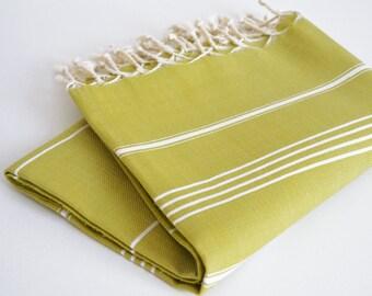 SALE 50 OFF/ Turkish Beach Bath Towel / Classic Peshtemal / Mustard / Wedding Gift, Spa, Swim, Pool Towels and Pareo