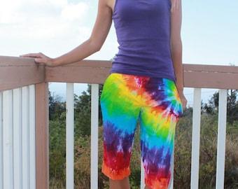 Tie dye capri pants women's size 6 upcycled