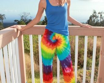 Tie dye capri pants size 4 women's upcycled