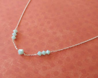 Delicate Sterling Silver & Tiny Swarovski Crystals in Milky Aqua Necklace
