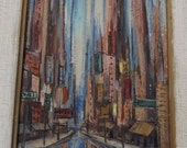Mid Century Modern, Cityscape oil painting on board, Carl Thorpe noted artisit, Mid Century modern oil painting,shipped free in USA