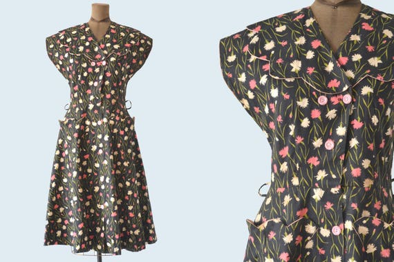 1940s Cotton Floral Dress size M