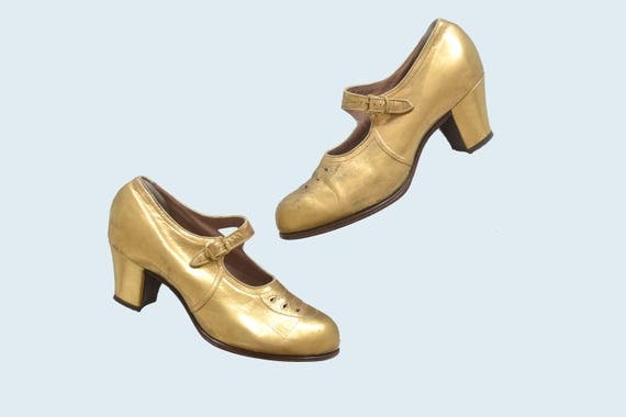 1930s Gold Mary Jane Heels size 6.5