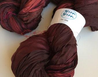Silk sari ribbon, 100g, premium quality sari silk, ribbon yarn, ox blood deep colours. Knitting, jewellery making and more.
