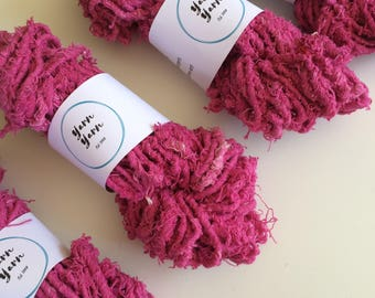 Super chunky bright pink cotton yarn, 50g, eco yarn, ethical cotton. Chunky art yarn. Jewellery making, clothing, knit.