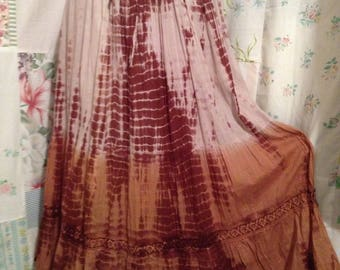 MEDIUM, Skirt Bohemian Hippie Tie Dyed Brown Boho Long Full Skirt