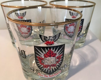 Carleton University Barware Low Ball Glasses Coat of Arms 1980 Set of 3 Drinking Glasses Ours the Task Eternal
