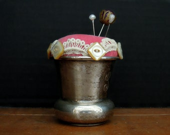 Antique / Vintage Silver Plate Monogrammed Pin Cushion / Victorian Fabric Pincushion / Hand Crafted Pin Cushion / OOAK Pin Cushion / Sewing