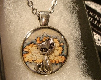 The Traveling Cat - Small Silver Cat over Vintage Map  Pendant Necklace (2345)