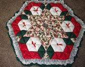 Christmas Tree Skirt - Biscuit Quilted - Candy Canes and Hollly