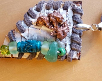 Birch Bark Laced Turquoise  Glass Beads Copper Pendant Sale Half Price!!!