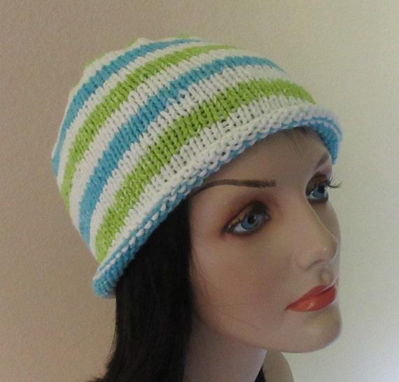 Seamless Knitted Beanie Cotton Knitted Beanie White Beanie Summer Knit Hat Spring Knit Hat Rolled Brim Beanie