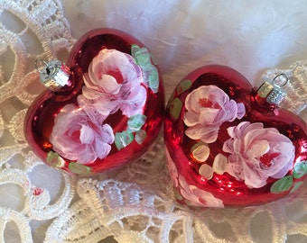 hand painted  ornaments roses valentine ornaments  hearts shatterproof  set of two