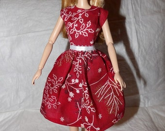 Holiday dress red with holly print for Fashion Dolls - ed950