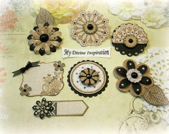Ivory Black and Beige Handmade Paper Embellishments and Paper Flowers for Scrapbooking Mini Albums Cards and Papercrafts
