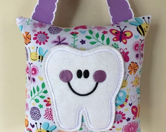 Tooth Fairy Pillow - Springtime Butterflies and Bees with Lavender Ribbon - Kids Pillow - Kids Gift