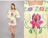 FEBRUARY SALE 70's Cross-Stitch EMBROIDERED Mini Dress Tunic