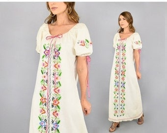 SPRING SALE 70's Embroidered Maxi Dress
