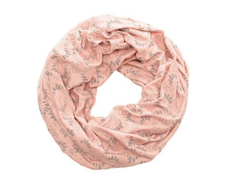 INFINITY SCARF - Screen Printed - Gray Spirals on Blush