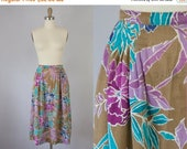"SALE Easter Weekend 1970s Vintage Christian Dior Floral Print Midi Skirt (S, M; 27"" Waist)"