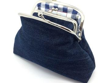 Blue Denim Kiss Lock Clutch Coin Purse Wallet Gift for Women Check White Cotton Metal Silver Frame