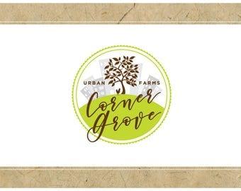Custom Logo Design - PreDesigned Logo PreMade Logo Vector Logo - OOAK Logo - CORNER GROVE Logo Branding - Urban Farm Logo - Tree Logo