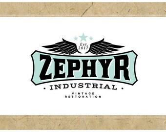 Custom Logo Design - PreDesigned Logo PreMade Logo Vector Logo - OOAK Logo - ZEPHYR Logo - Wing Logo - Vintage Logo - Motorcycle Logo