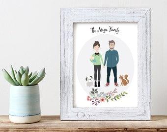 Custom Portrait Illustration | Family Illustration | Family Portrait | Pet Portrait | Wedding Gift | Christmas Gift