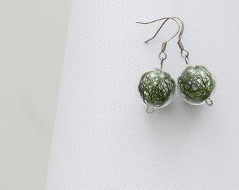 Blown glass earrings Wired Green