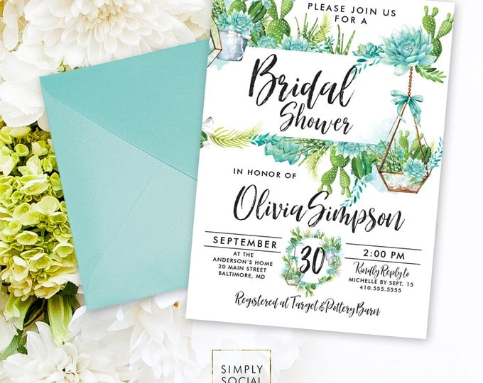 Succulents Bridal Shower Invitation - Green Succulent Terrarium Watercolor Floral Boho Shower Invitation Modern Calligraphy Printable Invite