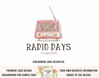 vintage radio logo vintage shop logo premade logo photography logo blog logo design etsy shop logo gift shop logo bespoke radio logo