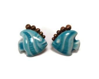 Vintage Elzac Porcelain Copper Fish Earrings