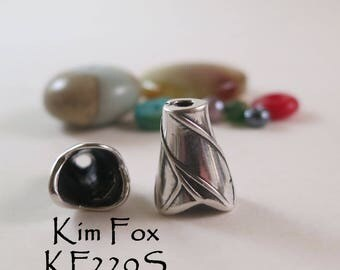 Small Twig Patterned Tapered Cone in Sterling Silver designed by Kim Fox