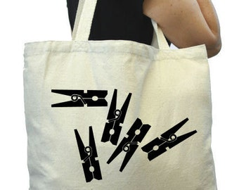 Canvas Grocery Bag, Clothespins , Thick Tote Bag, Reuable Grocery Tote Bag