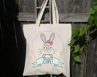 Personalized Easter Basket Tote Bag, Easter Basket Bag,