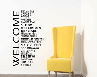 Welcome Wall Decals, International office, Welcome Decor, Office Reception decor, School Welcome, World Global Greetings, Library welcome