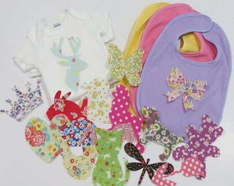Baby Shower Iron on Appliques Set of 15 Onesies Bibs Baby Girl Appliques Baby Shower Activity