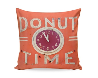 READY TO SHIP | Donut Time 16x16 Pillow Cover | Neon Sign Pillow | Mid Century Pillow | Oakland Decor | Decorative Pillow Cover | 50s Decor