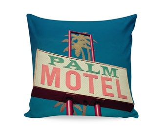 READY TO SHIP | Palm Motel Sign Pillow Cover | Palm Springs Decor | Mid Century Pillow | Mid Century Modern Decor | Decorative Pillow Cover